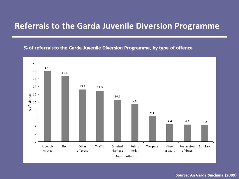 Referrals to the Garda Juvenile Diversion Programme % of referrals to the Garda Juvenile Diversion Programme, by type of offence Source: An Garda Siochana (2009)