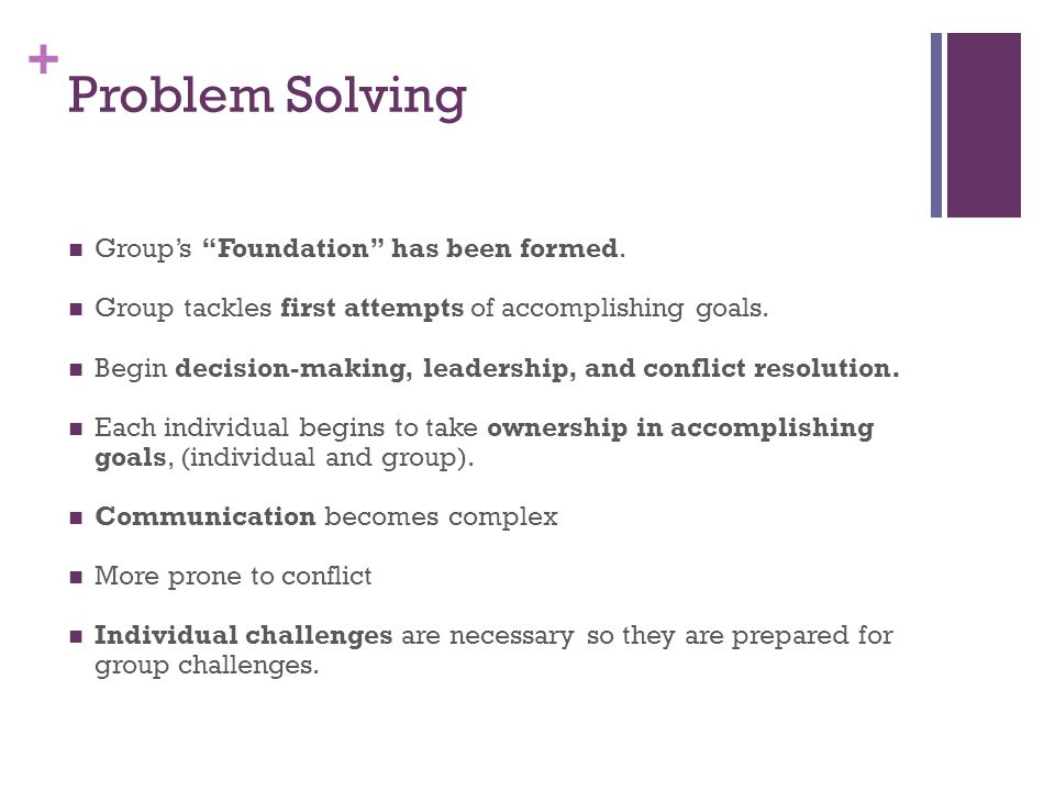 + Problem Solving Group's Foundation has been formed.