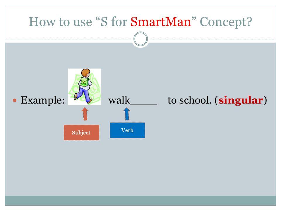 Example: Ali walk____ to school. (singular) Subject Verb