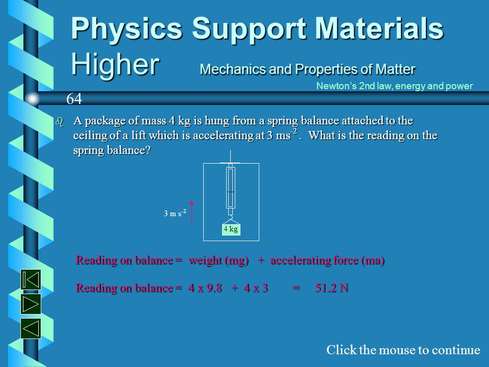 Physics Support Materials Higher Mechanics and Properties of Matter b A package of mass 4 kg is hung from a spring balance attached to the ceiling of