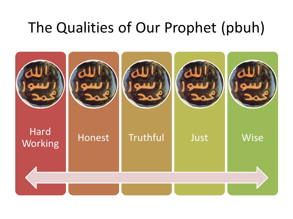 The Qualities of Our Prophet (pbuh) Hard Working HonestTruthfulJustWise