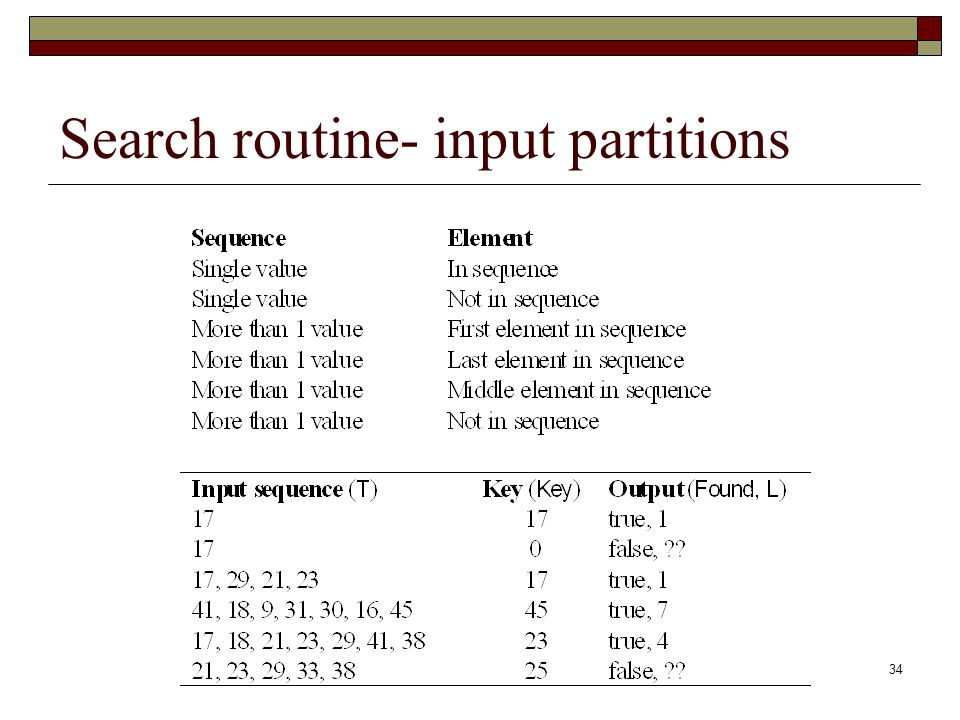 34 Search routine- input partitions
