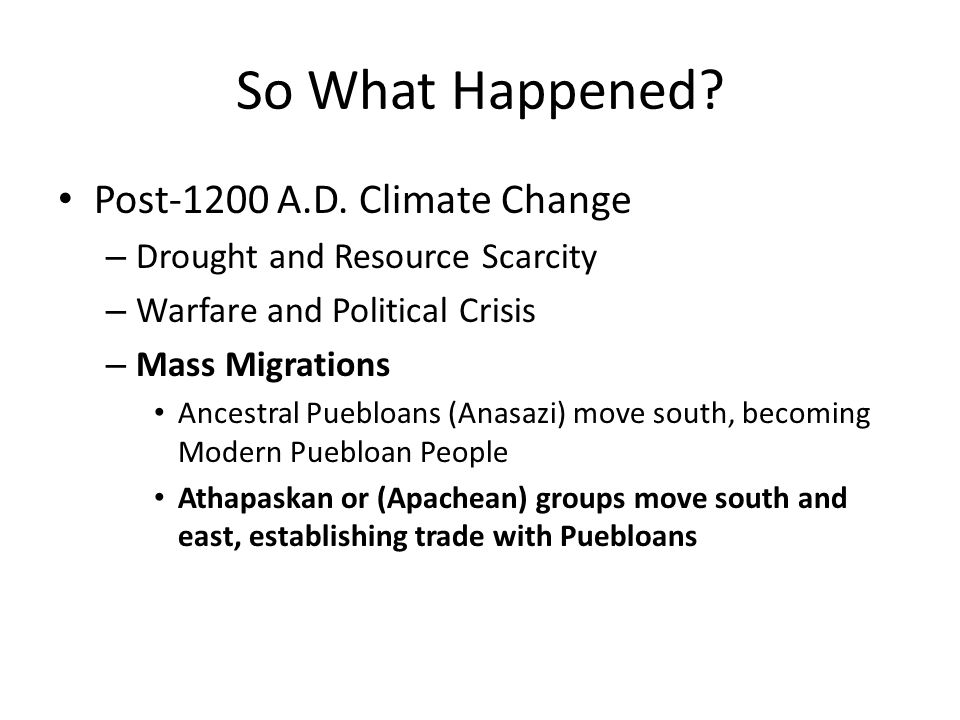 So What Happened. Post-1200 A.D.