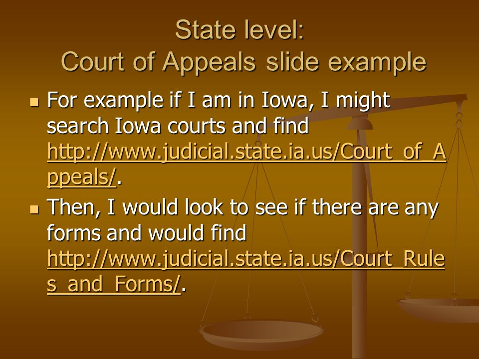 State level: Court of Appeals slide example For example if I am in Iowa, I might search Iowa courts and find http://www.judicial.state.ia.us/Court_of_A ppeals/.