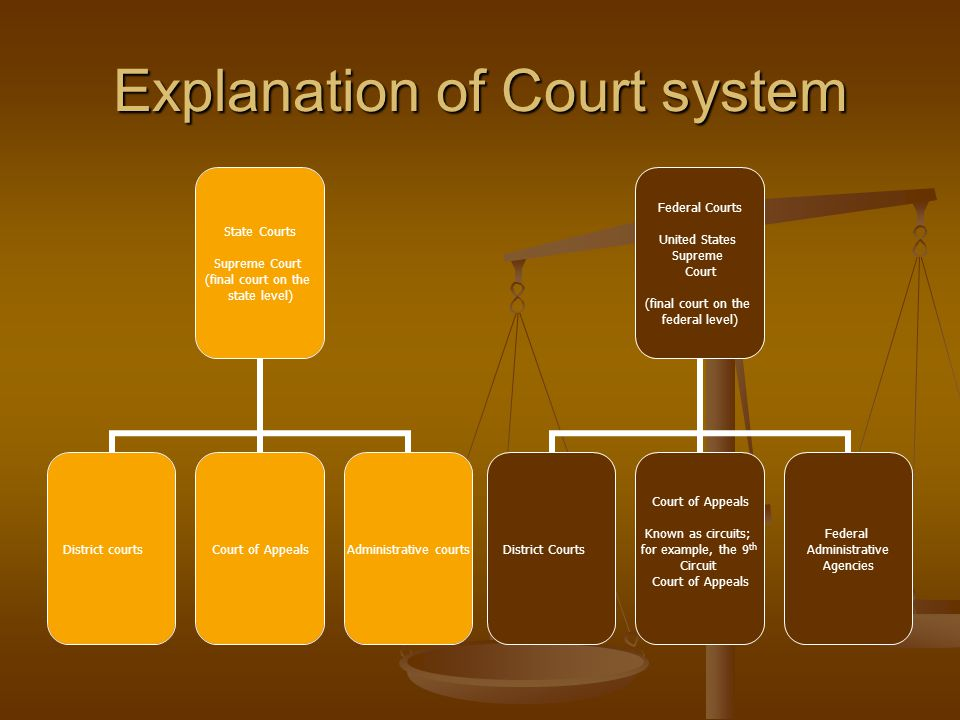 Explanation of Court system State Courts Supreme Court (final court on the state level) District courtsCourt of AppealsAdministrative courts Federal Courts United States Supreme Court (final court on the federal level) District Courts Court of Appeals Known as circuits; for example, the 9 th Circuit Court of Appeals Federal Administrative Agencies