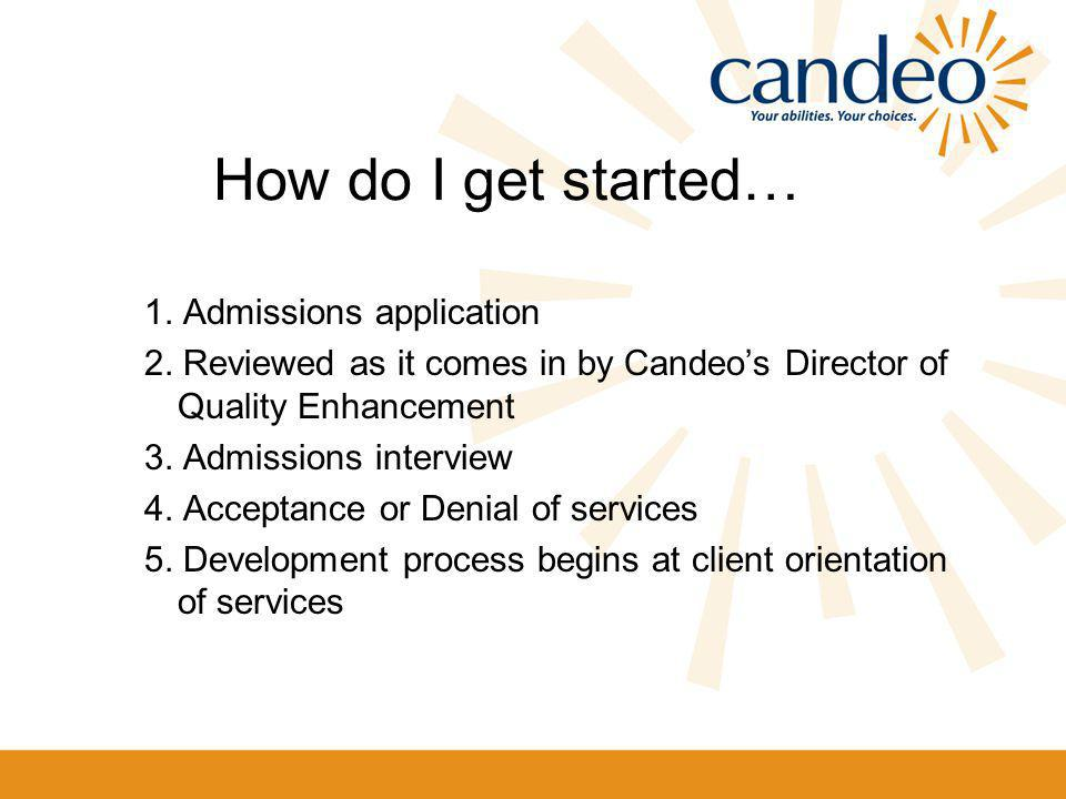 How do I get started… 1. Admissions application 2.