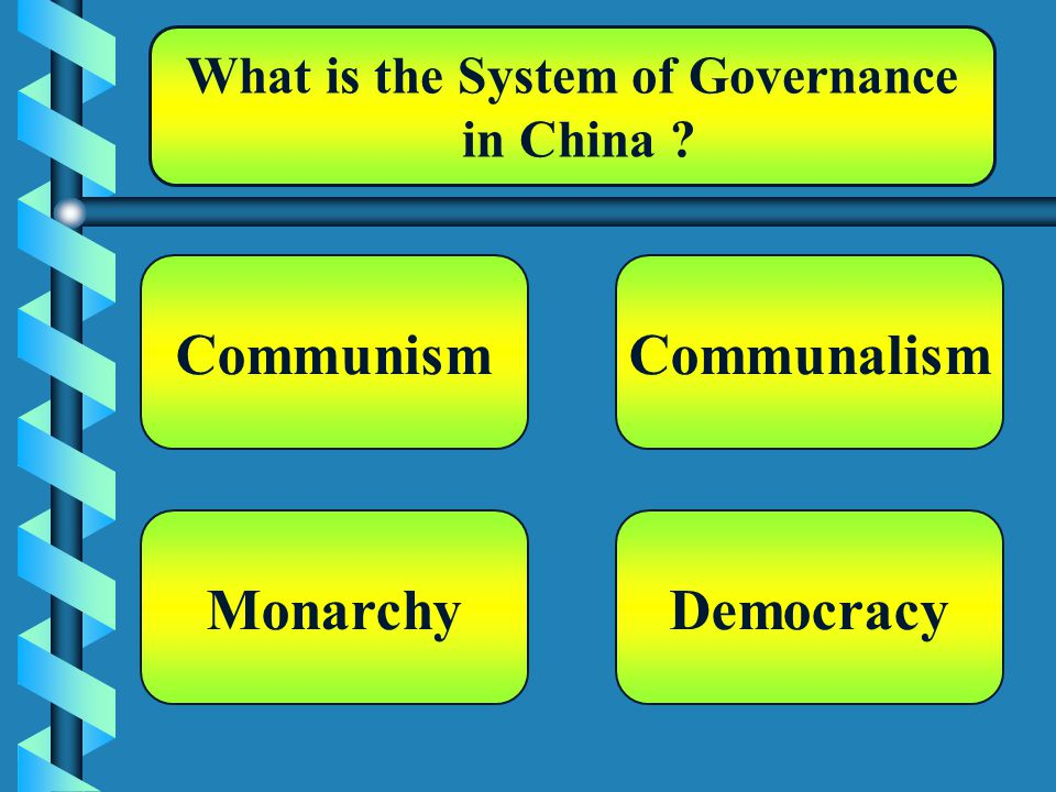 What is the System of Governance in China Communism Democracy Communalism Monarchy