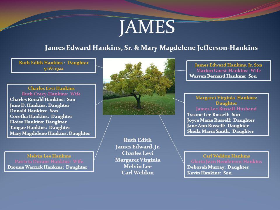 JAMES James Edward Hankins, Sr. & Mary Magdelene Jefferson-Hankins Charles Levi Hankins Ruth Crecy-Hankins: Wife Charles Ronald Hankins: Son June D. H