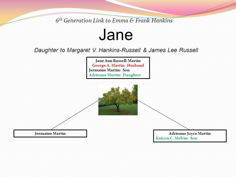 Jane 6 th Generation Link to Emma & Frank Hankins Daughter to Margaret V. Hankins-Russell & James Lee Russell Jermaine MartinAdrienne Joyce Martin Kai