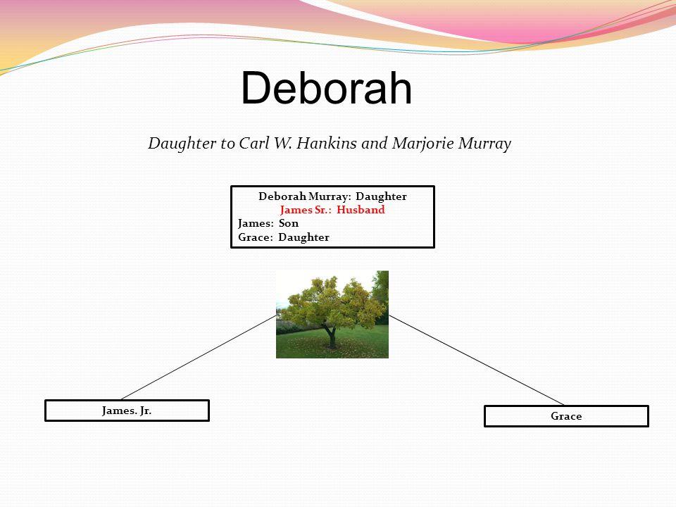 Deborah Daughter to Carl W. Hankins and Marjorie Murray Deborah Murray: Daughter James Sr.: Husband James: Son Grace: Daughter Grace James. Jr.