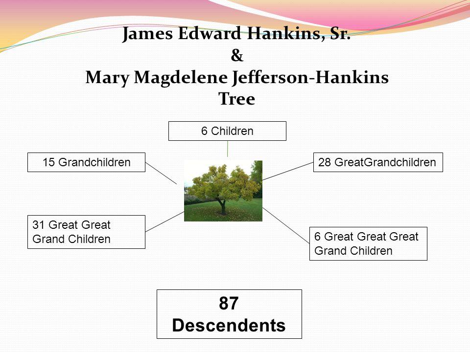 James Edward Hankins, Sr. & Mary Magdelene Jefferson-Hankins Tree 6 Children 31 Great Great Grand Children 15 Grandchildren28 GreatGrandchildren 6 Gre