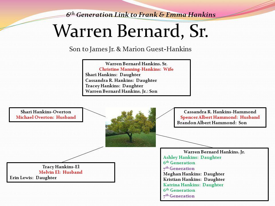 Warren Bernard, Sr. Warren Bernard Hankins, Sr. Christine Manning-Hankins: Wife Shari Hankins: Daughter Cassandra R. Hankins: Daughter Tracey Hankins: