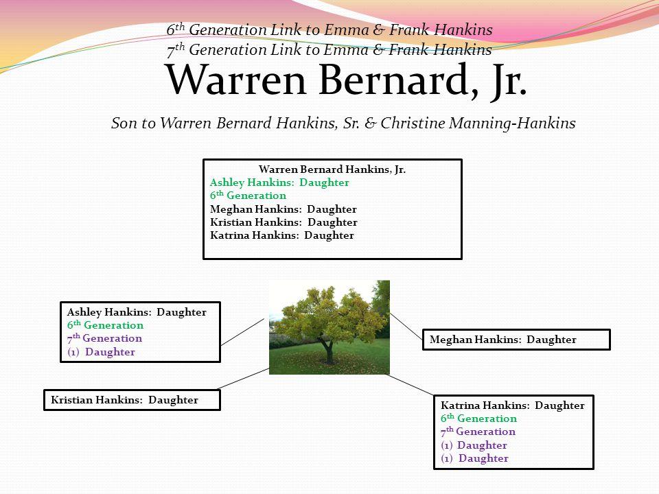 Warren Bernard, Jr. Son to Warren Bernard Hankins, Sr. & Christine Manning-Hankins Warren Bernard Hankins, Jr. Ashley Hankins: Daughter 6 th Generatio