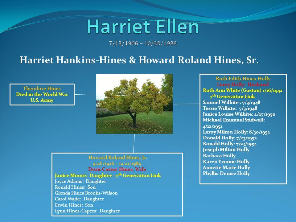 Ruth Edith Hines-Holly Leroy Holly: Husband Ruth Ann White (Gaston) 1/16/1942 7 th Generation Link Samuel Wilhite : 7/3/1948 Tessie Wilhite: 7/3/1948
