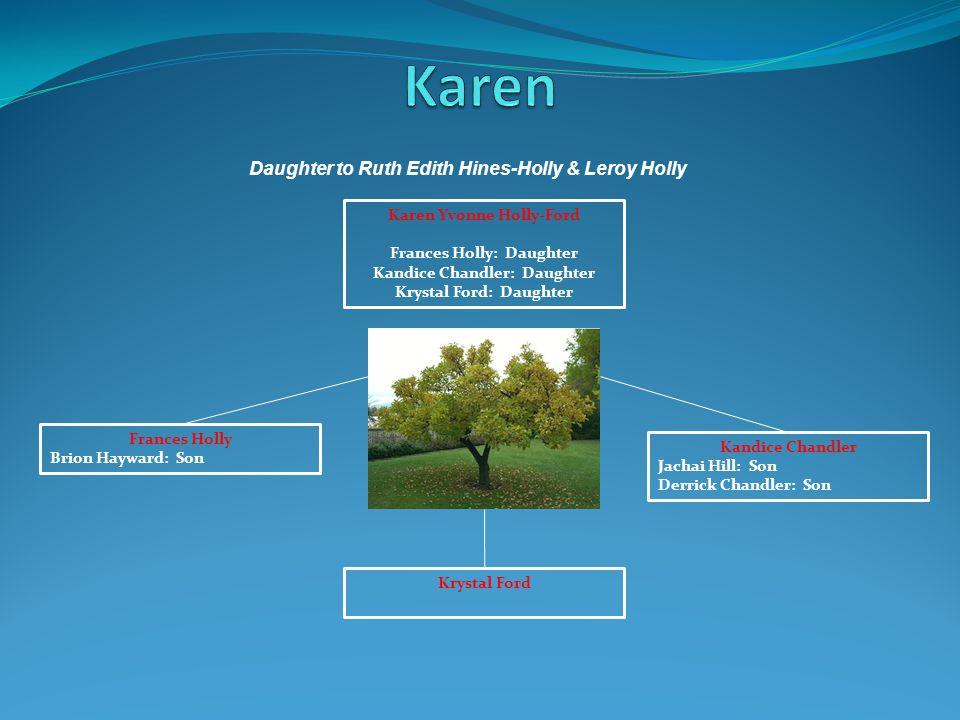 Karen Yvonne Holly-Ford Frances Holly: Daughter Kandice Chandler: Daughter Krystal Ford: Daughter Krystal Ford Frances Holly Brion Hayward: Son Kandic