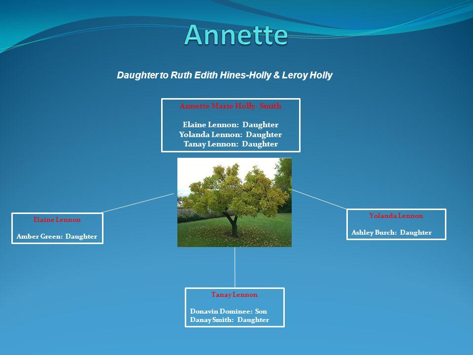 Annette Marie Holly- Smith Elaine Lennon: Daughter Yolanda Lennon: Daughter Tanay Lennon: Daughter Elaine Lennon Amber Green: Daughter Yolanda Lennon