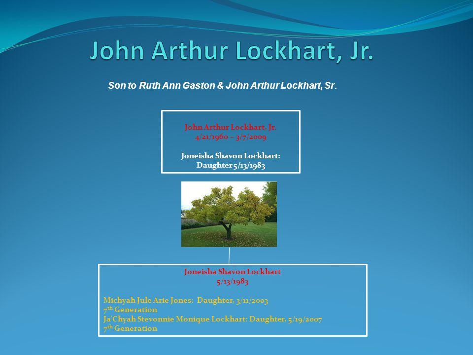 John Arthur Lockhart, Jr. 4/21/1960 – 3/7/2009 Joneisha Shavon Lockhart: Daughter 5/13/1983 Joneisha Shavon Lockhart 5/13/1983 Michyah Jule Arie Jones
