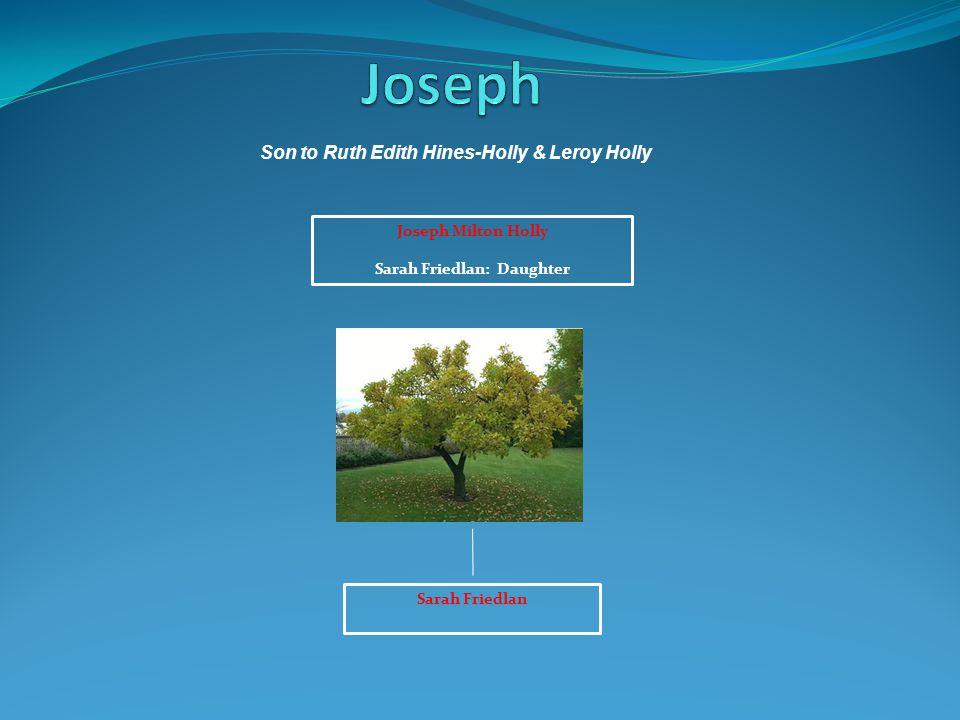 Joseph Milton Holly Sarah Friedlan: Daughter Sarah Friedlan Son to Ruth Edith Hines-Holly & Leroy Holly