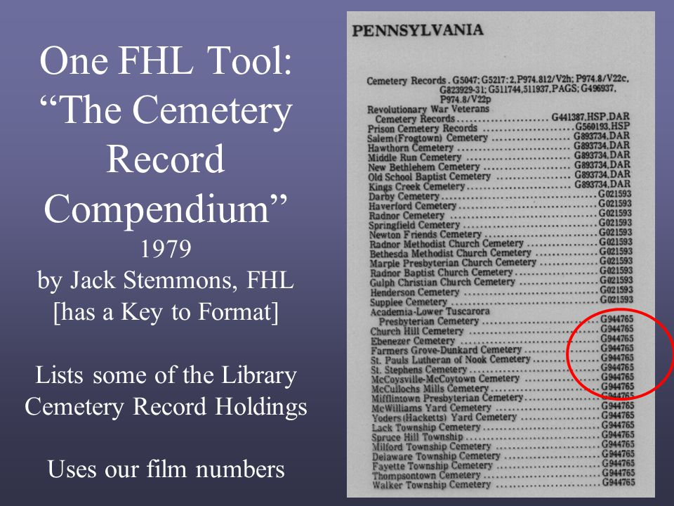 One FHL Tool: The Cemetery Record Compendium 1979 by Jack Stemmons, FHL [has a Key to Format] Lists some of the Library Cemetery Record Holdings Uses our film numbers