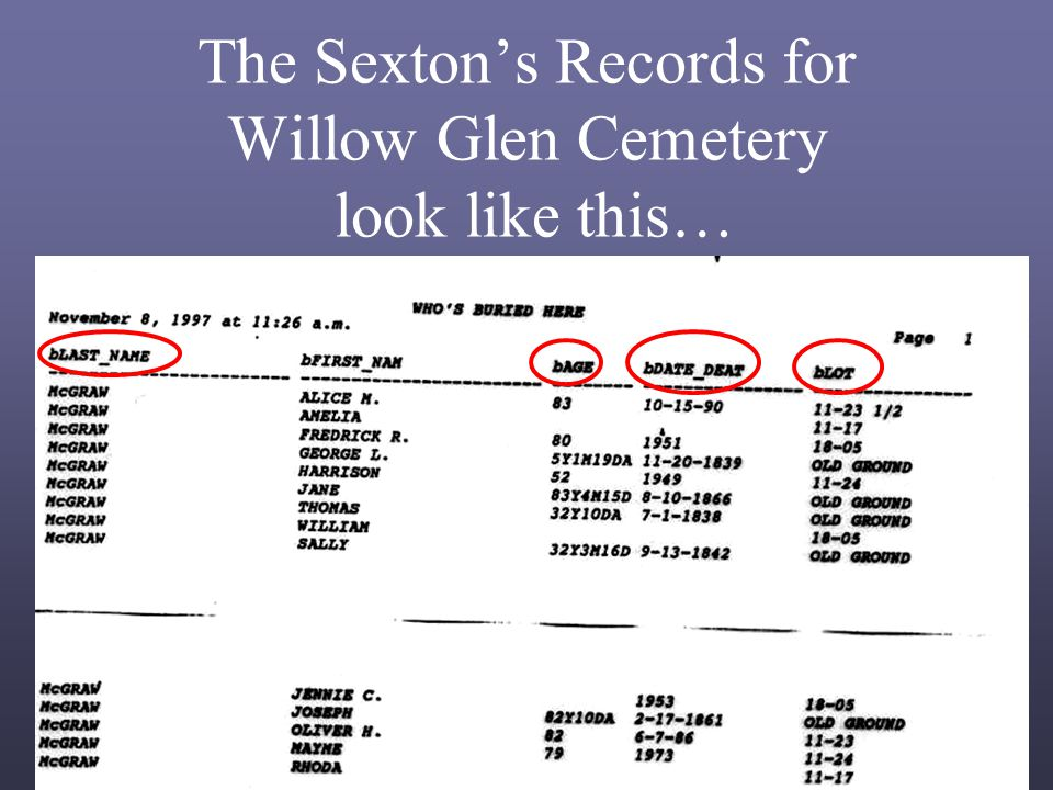 The Sexton's Records for Willow Glen Cemetery look like this…
