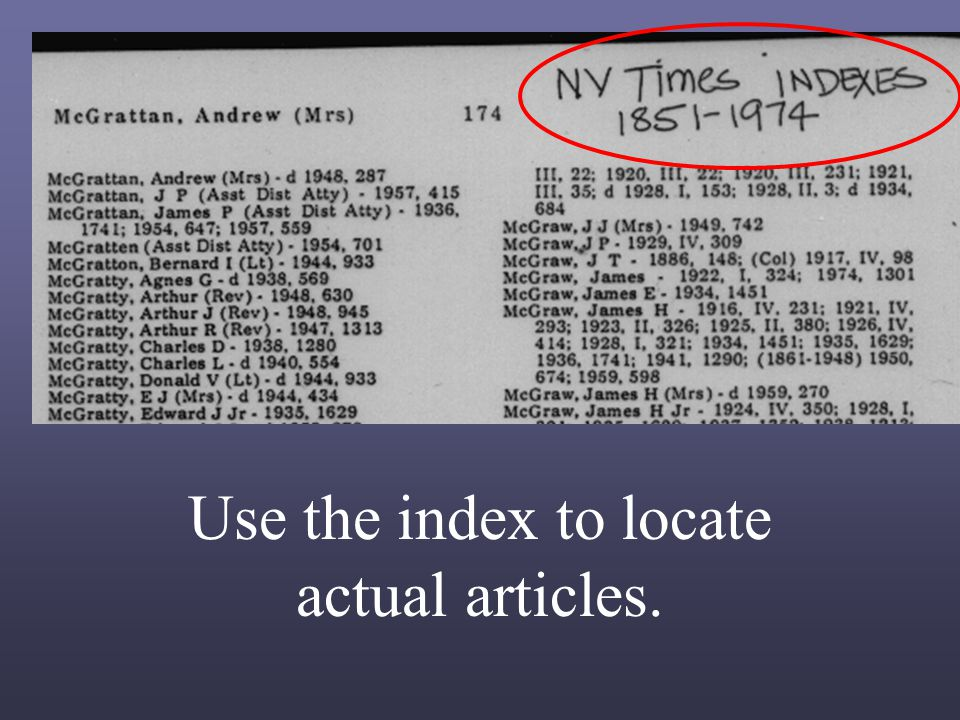 Use the index to locate actual articles.