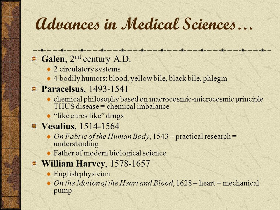 Advances in Medical Sciences… Galen, 2 nd century A.D.