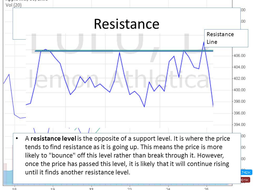 Resistance A resistance level is the opposite of a support level.