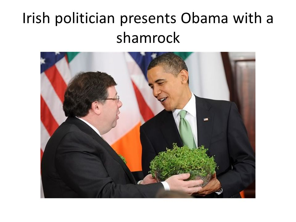 Irish politician presents Obama with a shamrock