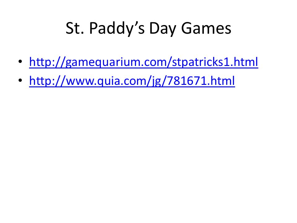 St. Paddy's Day Games