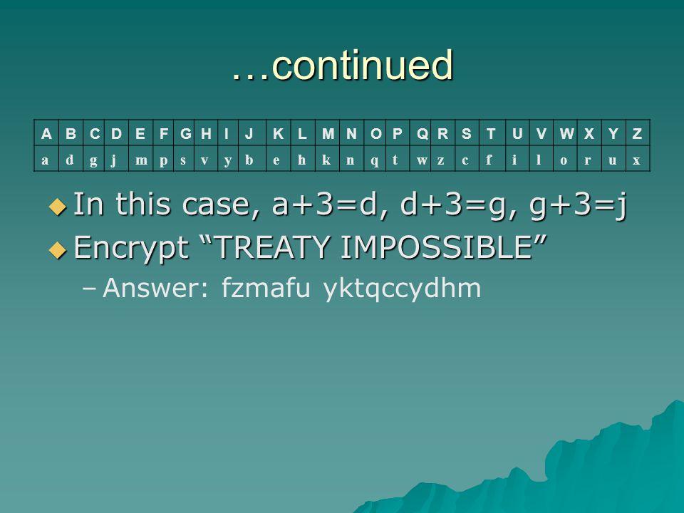 "…continued ABCDEFGHIJKLMNOPQRSTUVWXYZ adgjmpsvybehknqtwzcfilorux  In this case, a+3=d, d+3=g, g+3=j  Encrypt ""TREATY IMPOSSIBLE"" –Answer: fzmafu ykt"