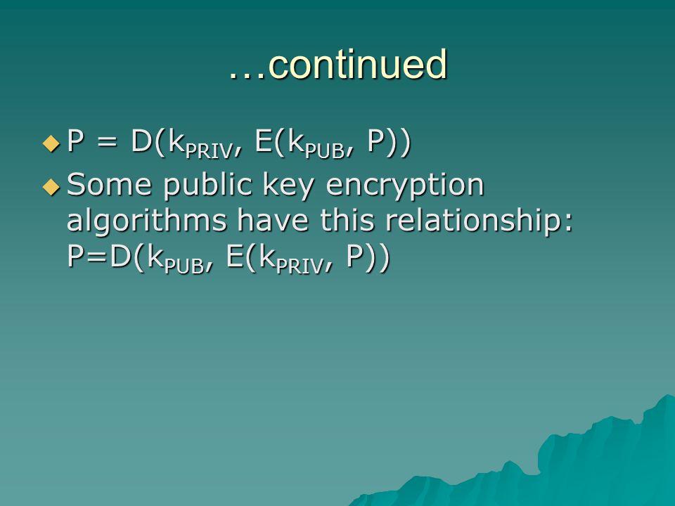 …continued  P = D(k PRIV, E(k PUB, P))  Some public key encryption algorithms have this relationship: P=D(k PUB, E(k PRIV, P))