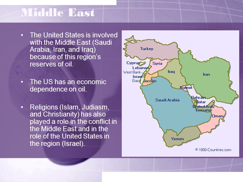 Middle East The United States is involved with the Middle East (Saudi Arabia, Iran, and Iraq) because of this region's reserves of oil.