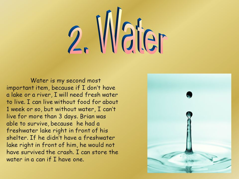 Water is my second most important item, because if I don't have a lake or a river, I will need fresh water to live.
