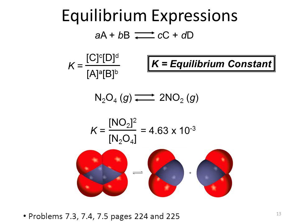 13 N 2 O 4 (g) 2NO 2 (g) = 4.63 x 10 -3 K = [NO 2 ] 2 [N 2 O 4 ] aA + bB cC + dD K = [C] c [D] d [A] a [B] b K = Equilibrium Constant Equilibrium Expr