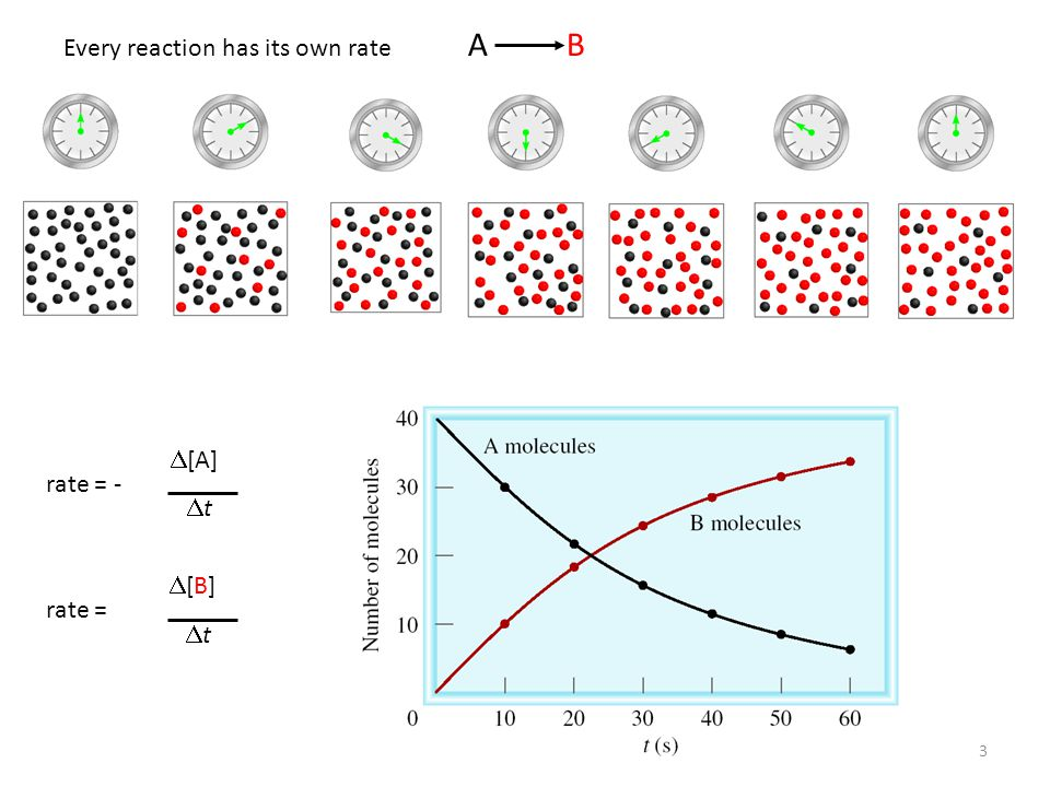 3 A B rate = -  [A] tt rate = [B][B] tt Every reaction has its own rate