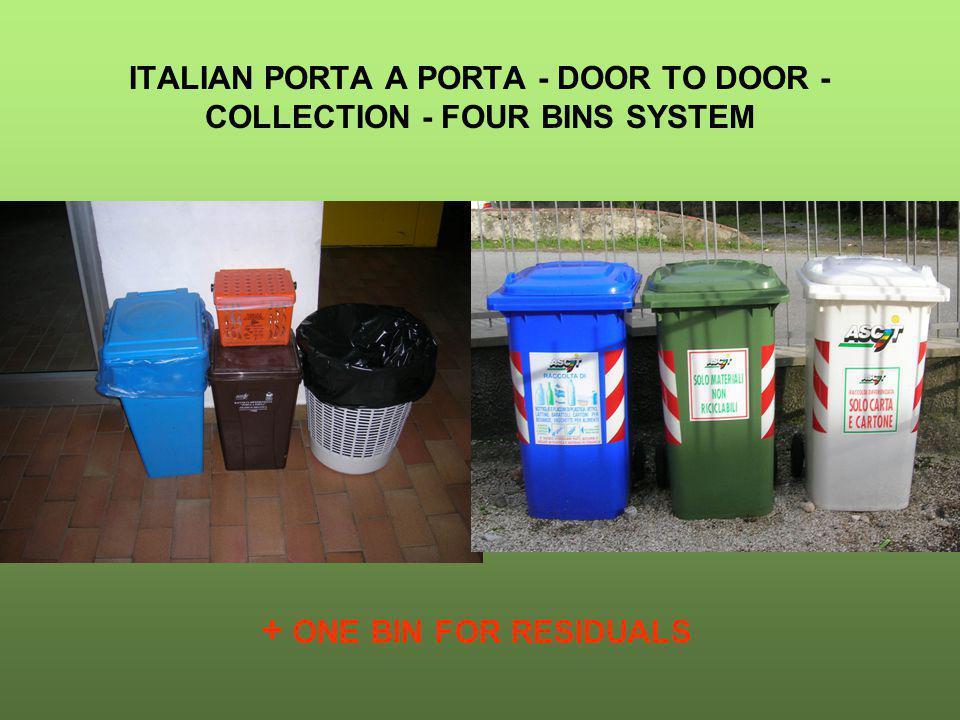 ITALIAN PORTA A PORTA - DOOR TO DOOR - COLLECTION - FOUR BINS SYSTEM + ONE BIN FOR RESIDUALS
