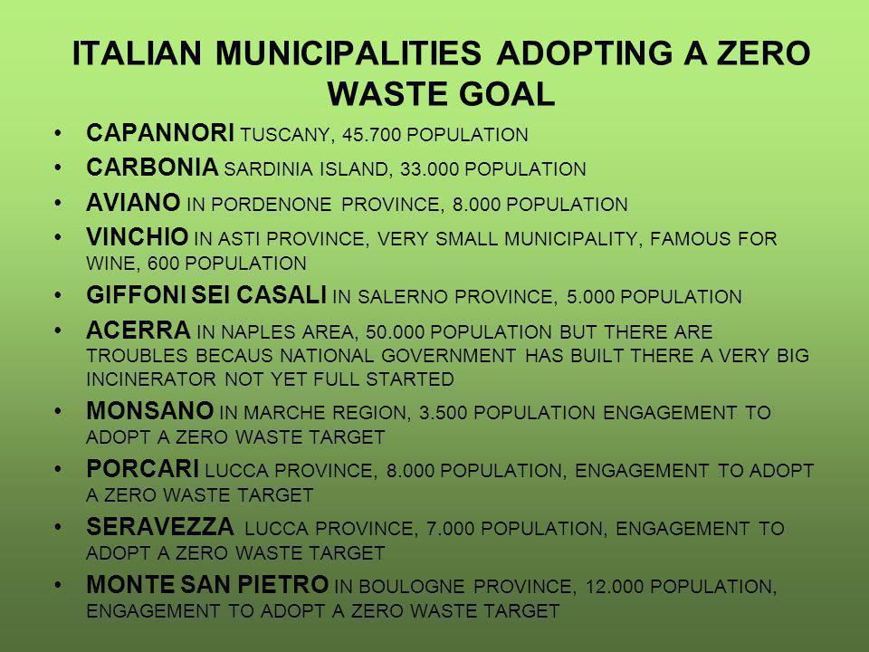 ITALIAN MUNICIPALITIES ADOPTING A ZERO WASTE GOAL CAPANNORI TUSCANY, 45.700 POPULATION CARBONIA SARDINIA ISLAND, 33.000 POPULATION AVIANO IN PORDENONE