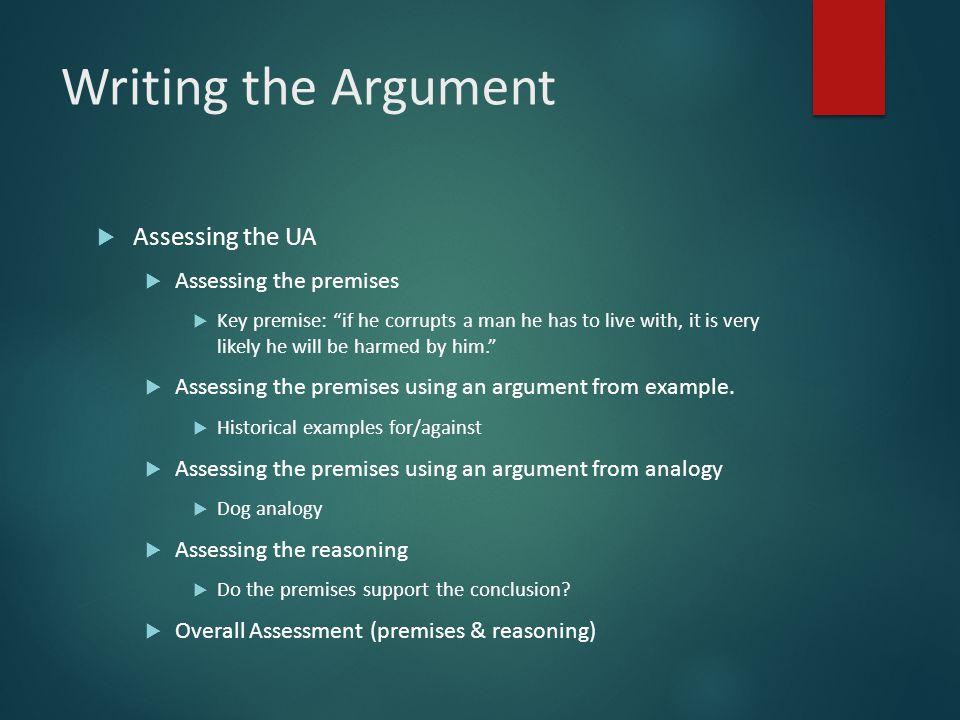 Writing the Argument  Assessing the UA  Assessing the premises  Key premise: if he corrupts a man he has to live with, it is very likely he will be harmed by him.  Assessing the premises using an argument from example.