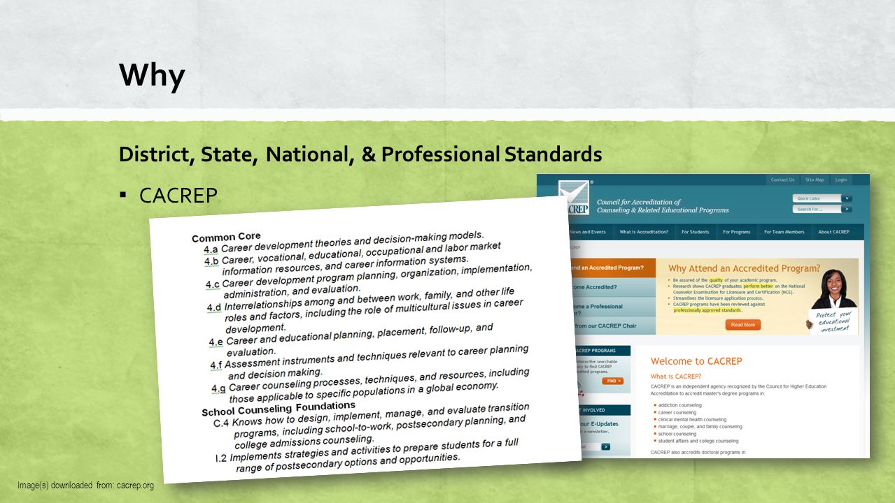 Why District, State, National, & Professional Standards ▪ CACREP Image(s) downloaded from: cacrep.org