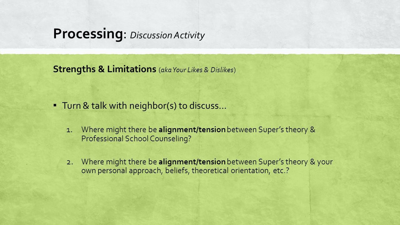 Processing: Discussion Activity Strengths & Limitations (aka Your Likes & Dislikes) ▪ Turn & talk with neighbor(s) to discuss… 1.