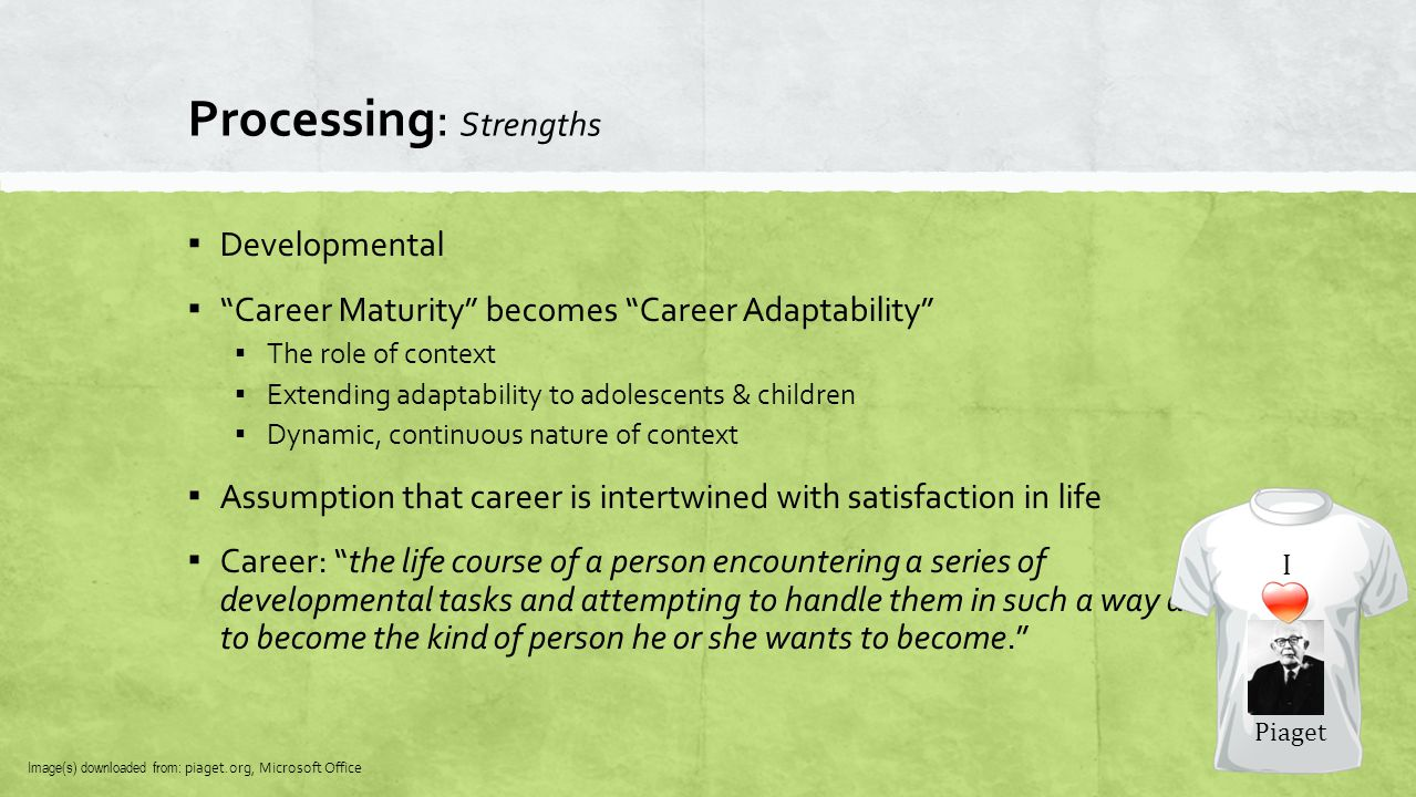 "Processing: Strengths ▪ Developmental ▪ ""Career Maturity"" becomes ""Career Adaptability"" ▪ The role of context ▪ Extending adaptability to adolescents"