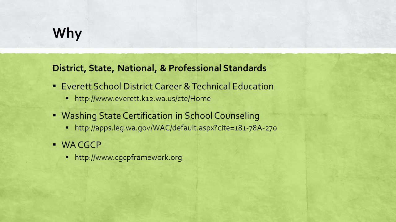 Why District, State, National, & Professional Standards ▪ Everett School District Career & Technical Education ▪ http://www.everett.k12.wa.us/cte/Home ▪ Washing State Certification in School Counseling ▪ http://apps.leg.wa.gov/WAC/default.aspx cite=181-78A-270 ▪ WA CGCP ▪ http://www.cgcpframework.org
