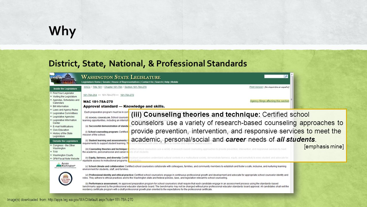 Why District, State, National, & Professional Standards Image(s) downloaded from: http://apps.leg.wa.gov/WAC/default.aspx cite=181-78A-270 (iii) Counseling theories and technique: Certified school counselors use a variety of research-based counseling approaches to provide prevention, intervention, and responsive services to meet the academic, personal/social and career needs of all students.