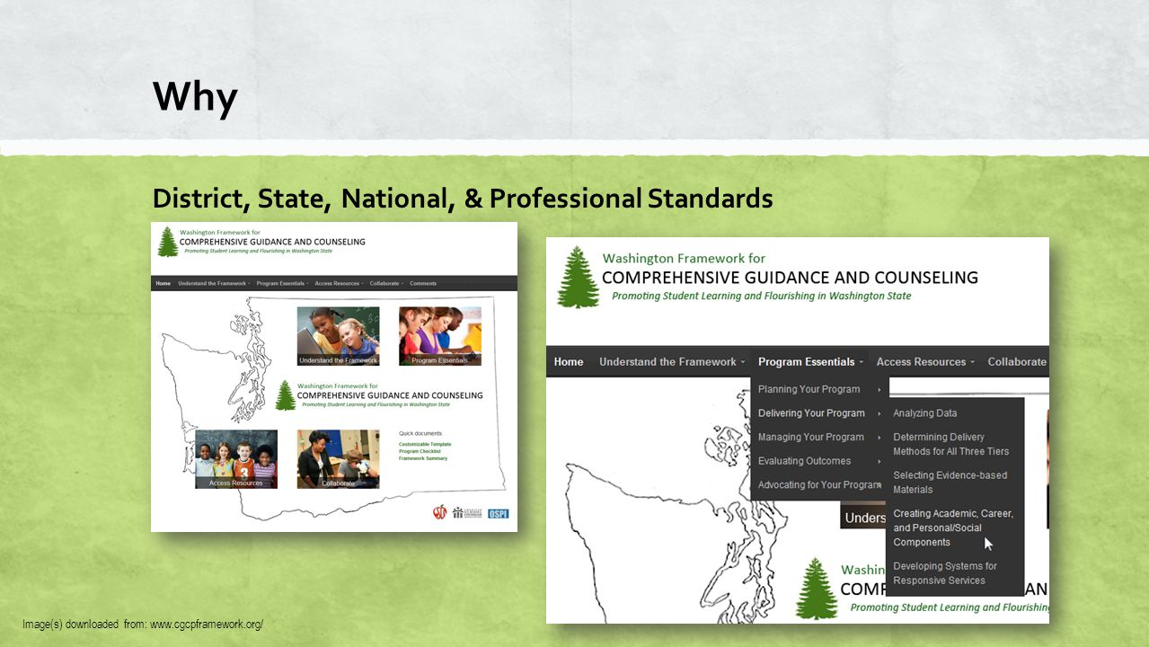 Why District, State, National, & Professional Standards ▪ ASCA National Model 3.0 ▪ http://schoolcounselor.org ▪ ASCA National Standards ▪ http://www.ascanationalmodel.org/files/StudentStandards.pdf Image(s) downloaded from: www.ascanationalmodel.org/files/StudentStandards.pdf, schoolcounselor.org