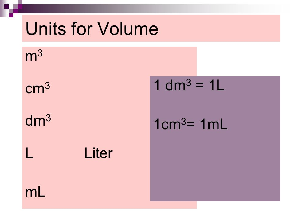 Units for Volume m 3 cm 3 dm 3 L Liter mL 1 dm 3 = 1L 1cm 3 = 1mL