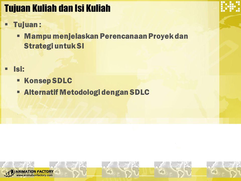 Tujuan Kuliah dan Isi Kuliah  Tujuan :  Mampu menjelaskan Perencanaan Proyek dan Strategi untuk SI  Isi:  Konsep SDLC  Alternatif Metodologi deng