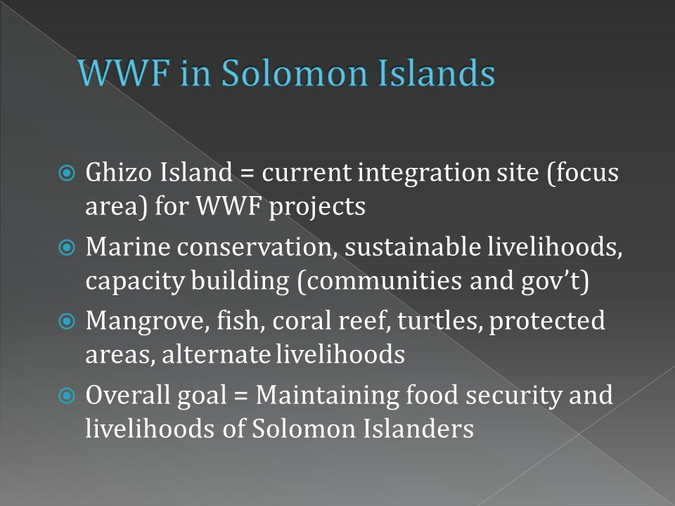  Ghizo Island = current integration site (focus area) for WWF projects  Marine conservation, sustainable livelihoods, capacity building (communities and gov't)  Mangrove, fish, coral reef, turtles, protected areas, alternate livelihoods  Overall goal = Maintaining food security and livelihoods of Solomon Islanders