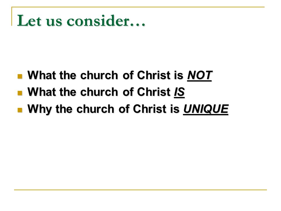 What is so SPECIAL about the church of Christ.
