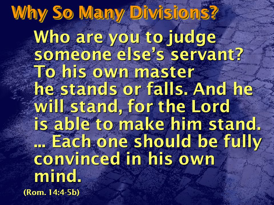 Why So Many Divisions. Who are you to judge someone else's servant.
