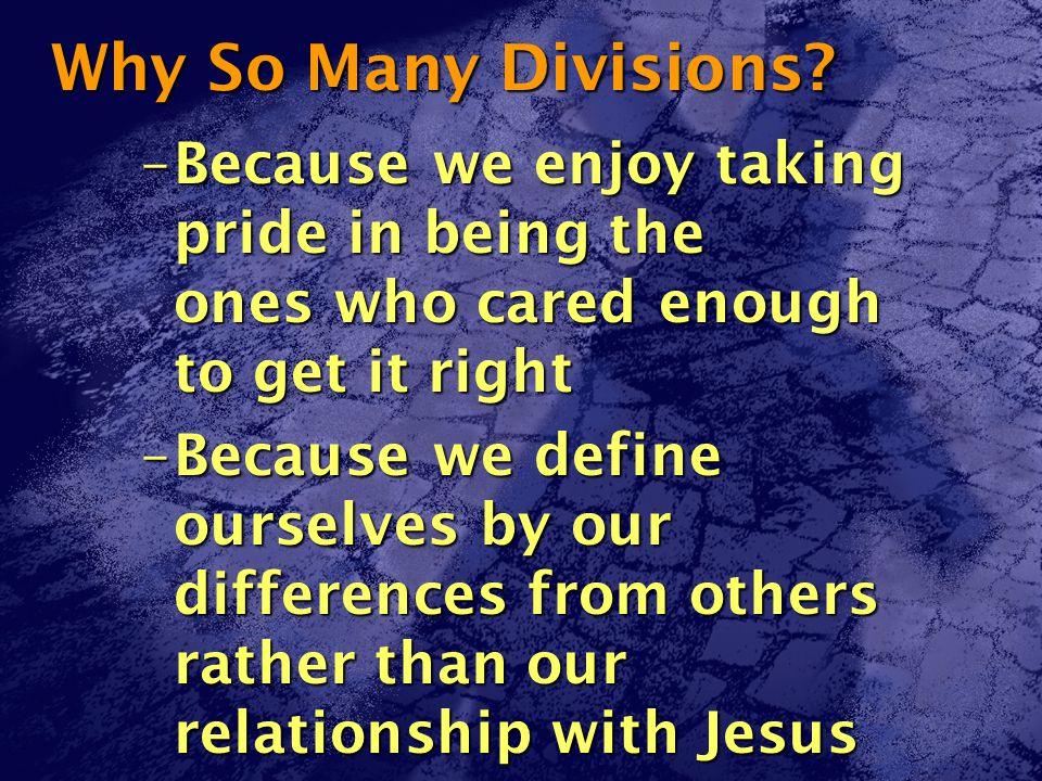 Why So Many Divisions.